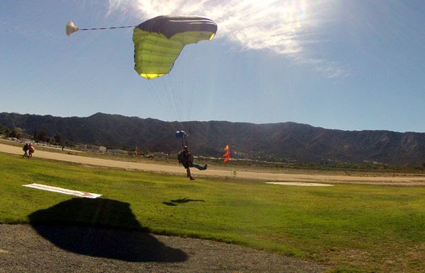 Preparing to land on the drop zone at Lake Elsinore's Skylark Field Airport, on October 4, 2014.