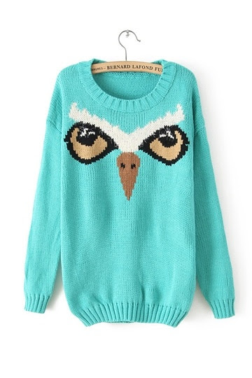 Owl Pattern Round Neck Sweater