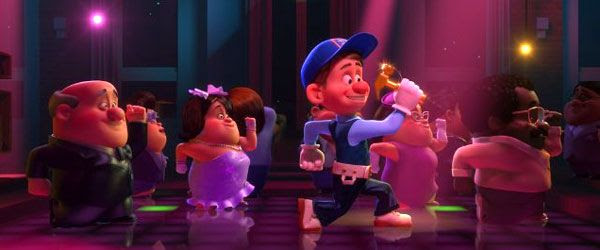 Fix-It Felix, Jr. (Jack McBrayer) parties with his fellow neighbors in WRECK-IT RALPH.