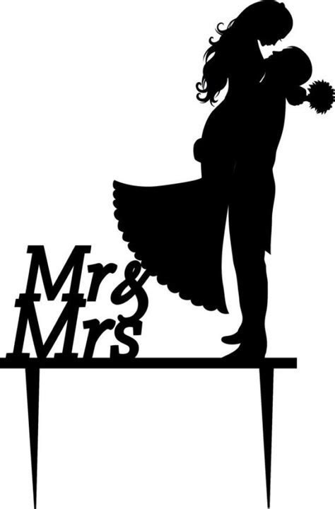 Wedding Cake Topper Silhouette Groom And Bride, Acrylic