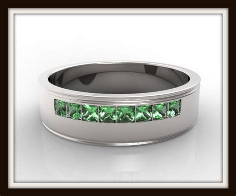 mens princess cut green emerald wedding band vidar