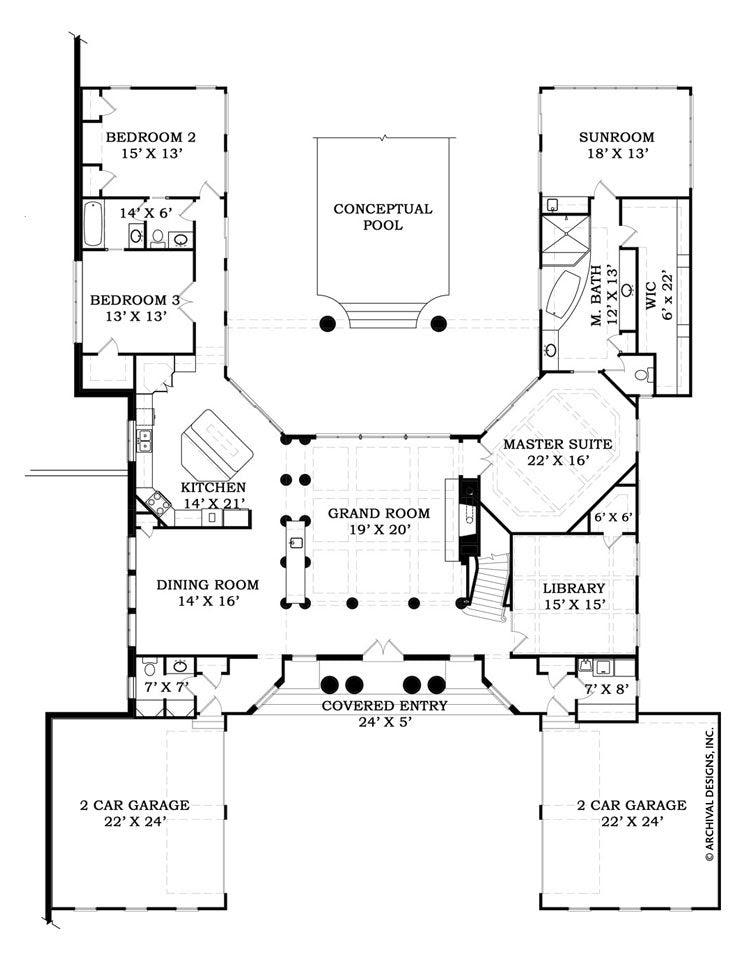 Villa De Saye Ranch House Plan Courtyard House Plan Archival Designs