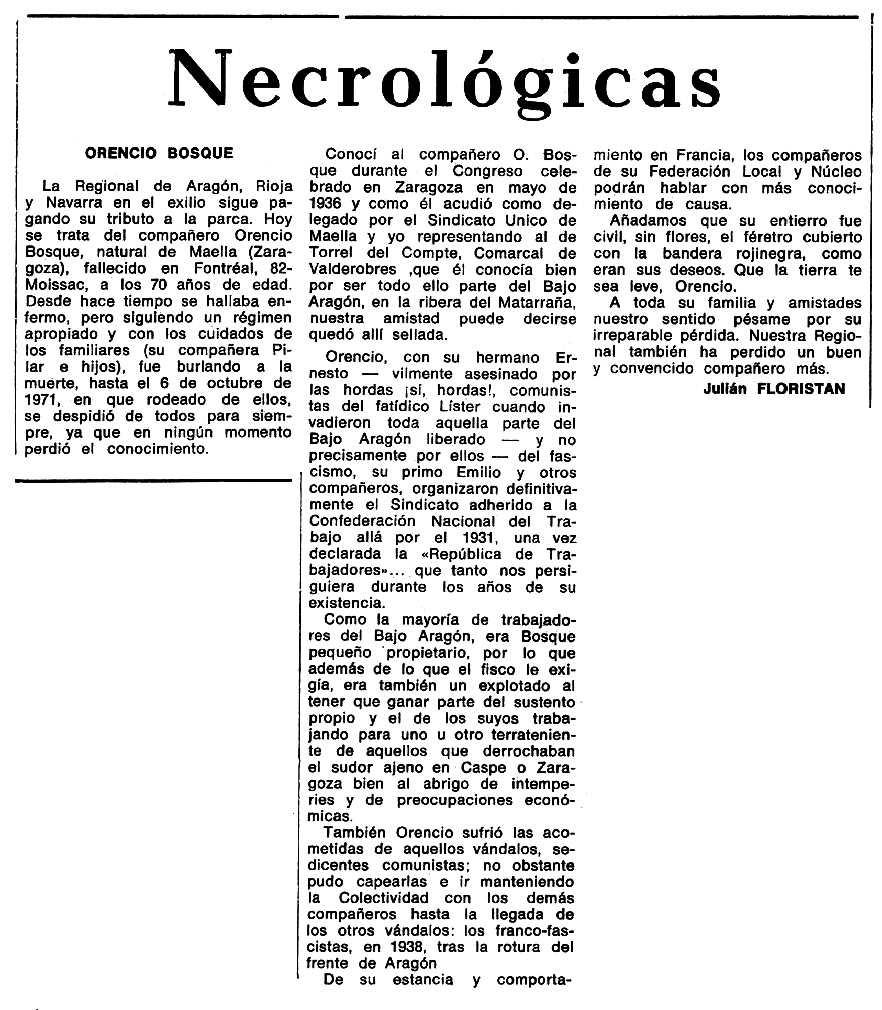 "Necrològica d'Orencio Bosque Andrés apareguda en el periòdic tolosà ""Espoir"" del 12 de desembre de 1971"