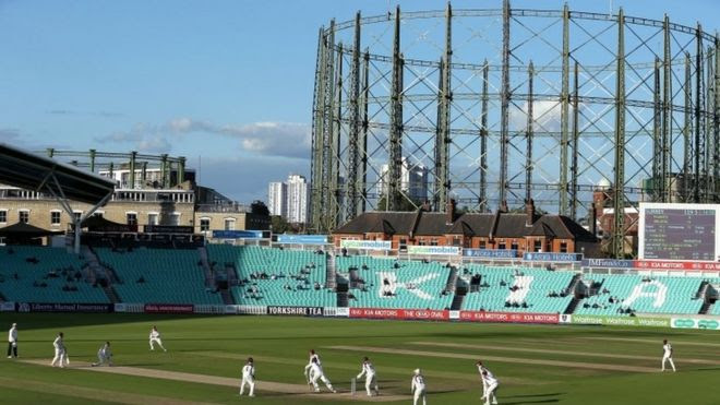 The Victorian gasholder at the Oval