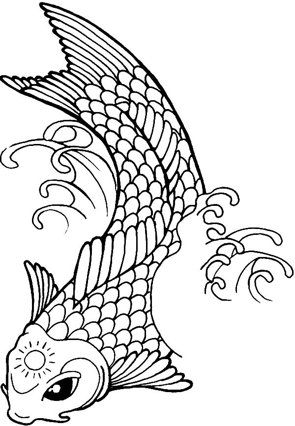 Koi Fish with Sun Tattoo on Its Forehead Coloring Pages  Download \u0026 Print Online Coloring Pages