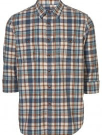 Topman Blue Rustic Oxford Plaid Shirt