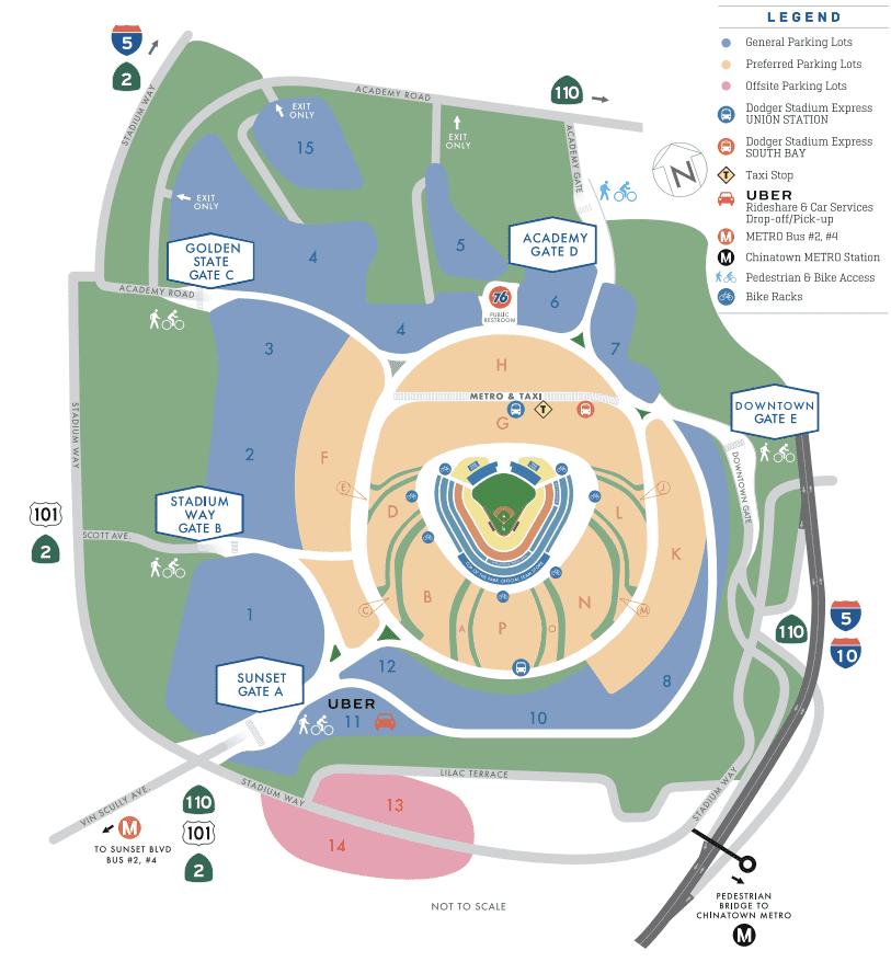 on dodger stadium parking map