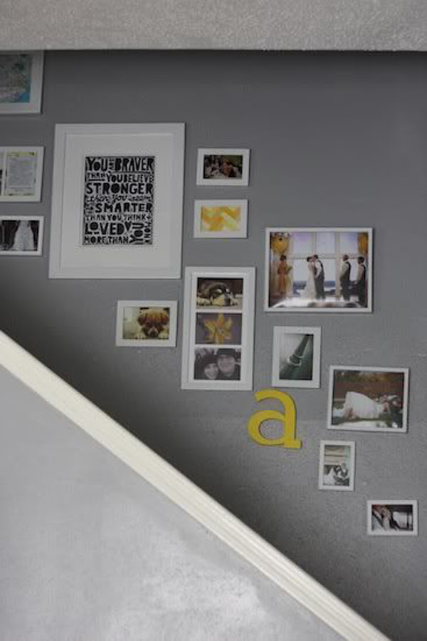 Get Here Picture Frames On Stair Wall