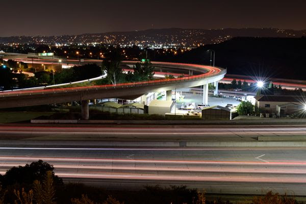 A long-exposure snapshot that I took of the 57 and 60 freeways near the city of Diamond Bar in California...on June 30, 2017.