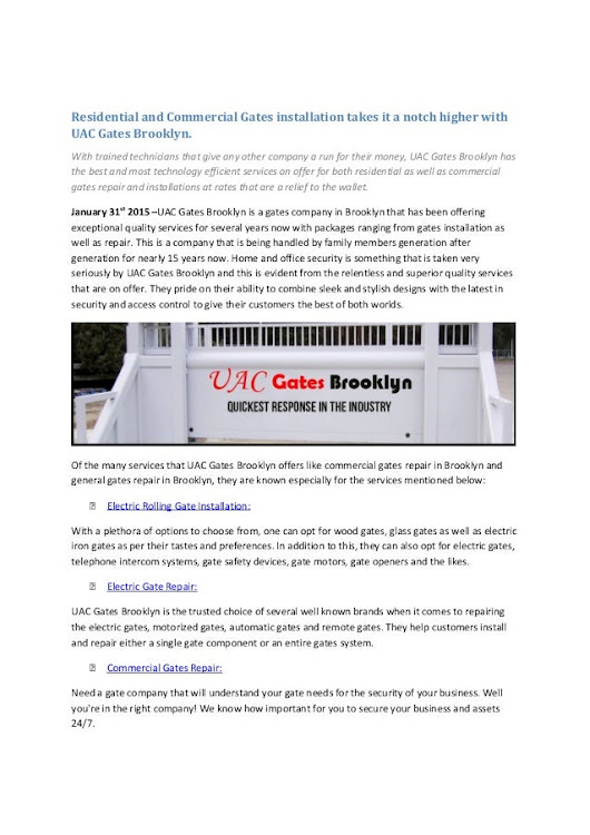 Residential and Commercial Gates installation takes it a notch higher…