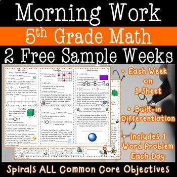 5th Grade Daily Math Morning Work one week freebie (week 19)