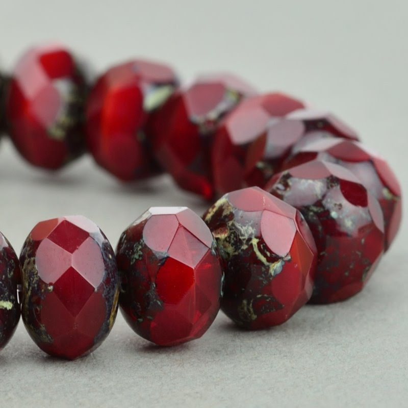 s49076 Czech Glass - 9 x 6 mm Faceted Donut Rondelle - Red Opal Picasso (25)