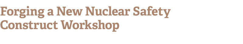 Forging a New Nuclear Safety Construct Workshop
