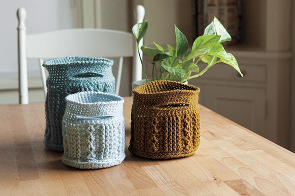Crochet Cable Baskets - Knitting Patterns and Crochet Patterns from KnitPicks.com by Edited byStaff