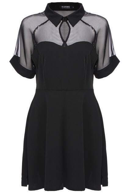 ROMWE Mesh Peak Collar Little Black Skater Dress pictures