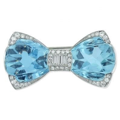 Tiffany Aquamarine Art Deco Bow Brooch Pin   Jewelry