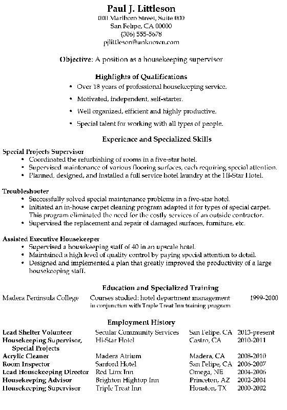 Functional Resume Sample Housekeeping Supervisor Png