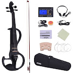 ammoon full size 4/4 solid wood electric silent violin fiddle style-3 ebony fingerboard pegs chin rest tailpiece with bow hard case tuner headphones r