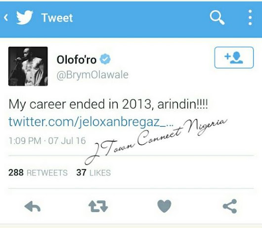 My Career Ended in 2013 - Singer, Brymo Reveals