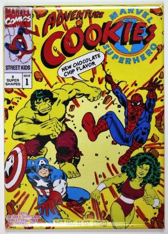 Marvel Super Hero Adventure Cookies FRIDGE MAGNET Spiderman Hulk Captain America