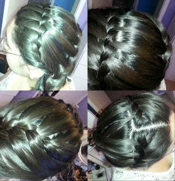 Waterfall braid headband into a French braid