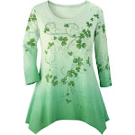 Women's Shamrock Printed Ombre Top Sparkly Sequins & Green Background with 3/4 Sleeves and Scoop Neckline Green Multi Large