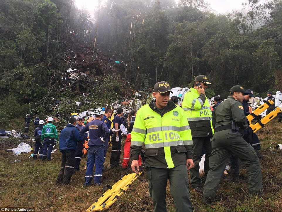 As fotos mostram como as árvores foram destruídas quando o avião entrou aterrar.  Os relatórios sugerem que o capitão circulou antes de tentar pousar