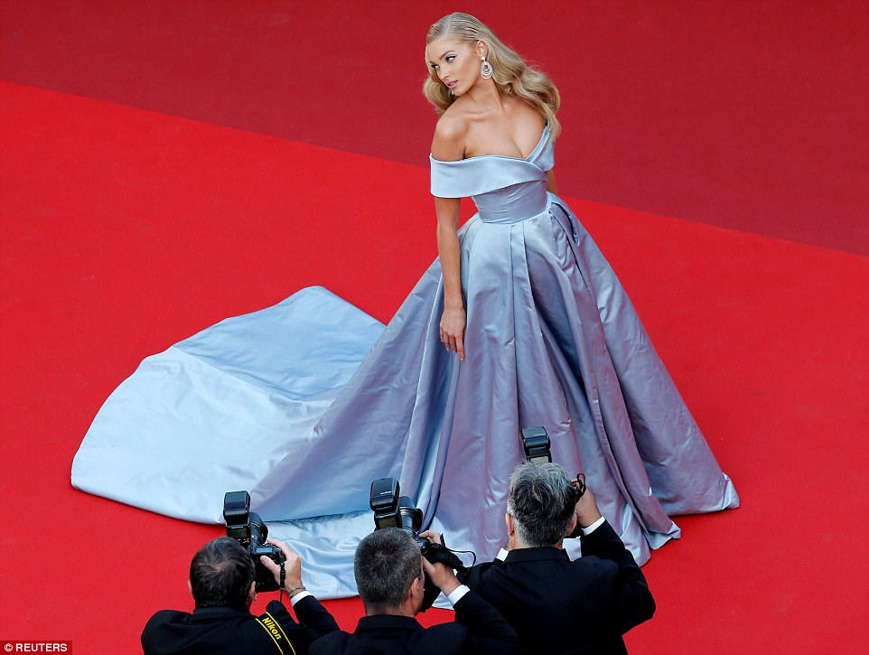 Swedish model Elsa Hosk poses on the red carpet as she arrives for the screening of 'The Beguiled', a movie running in competition at the 70th Cannes Film Festival in France on May 24