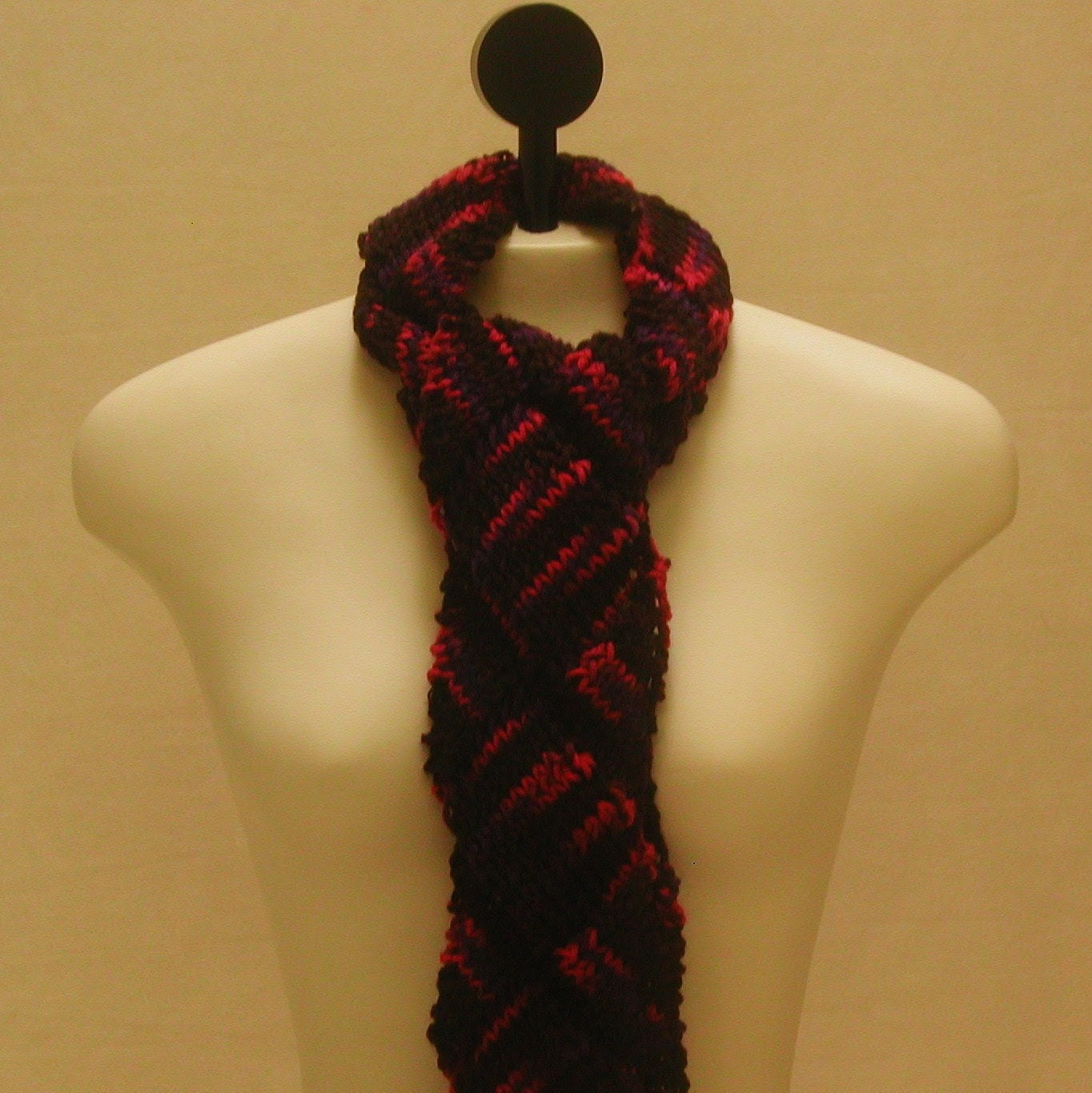 Entrelac Scarf in Brown, Purple, and Pink!