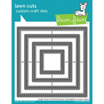 Lawn Fawn LARGE CROSS-STITCHED SQUARE STACKABLES Lawn Cuts Dies LF1182