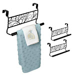 Evelots Over Cabinet Door Towel Bar-Bathroom-Kitchen-No Installation-Black-Set/2