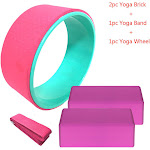 Siaonvr Yoga Massage Roller Yoga Stretcher With Yoga Brick 4 Piece Suit Pink