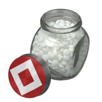 Red and White Diamond Pattern Glass Jar