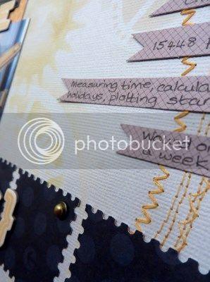 Jimjams - Layout detail - stitching, masking, journalling strips