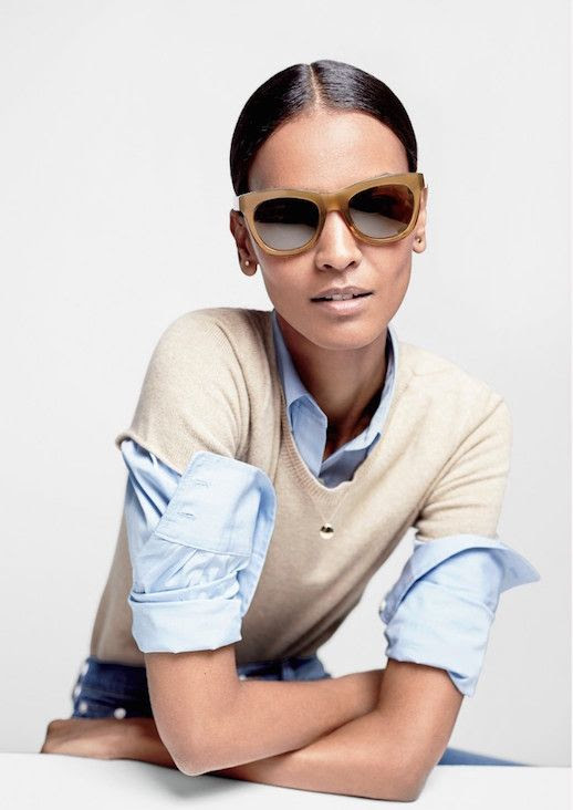 Le Fashion Blog JCrew Milky Brown Oversized Sunglasses Lookbook Liya Kebede Tee Shirt Sweater Blue Button Down Shirt Denim