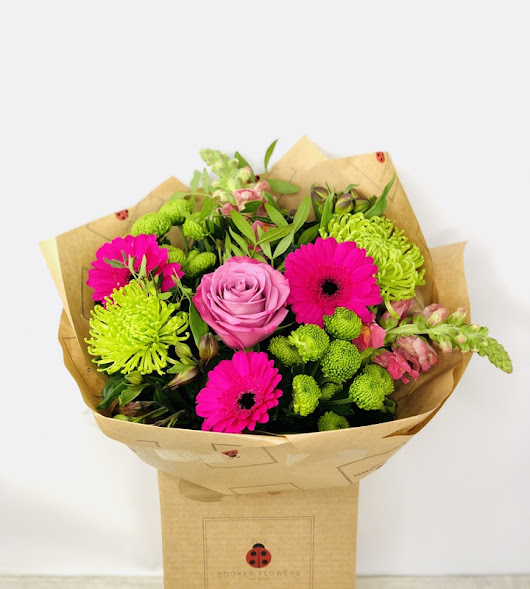 Pink and Green Flowers Gerbera Bouquet: Booker Flowers and Gifts is the website of the retail shop Booker Flowers and Gifts.  Through this website you can order and send flowers in and around the Liverpool area.  You can also send nationally.   Through us you can order flowers for the same day.  All our flowers and our same day flowers are individually designed, hand delivered and guaranteed. Our flowers are perfect to make every occasion special Birthdays, Anniversaries, Get Well, Congratulations, New Home, New Baby.   Shop by Occasion, Season, Collection, or Arrangement type. If you are interested in wedding flowers or our gift selection clicking on the links in the menu bar will take you to our other websites.