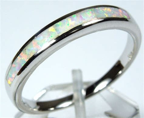 Quality White Fire Opal Inlay Genuine 925 Sterling Silver