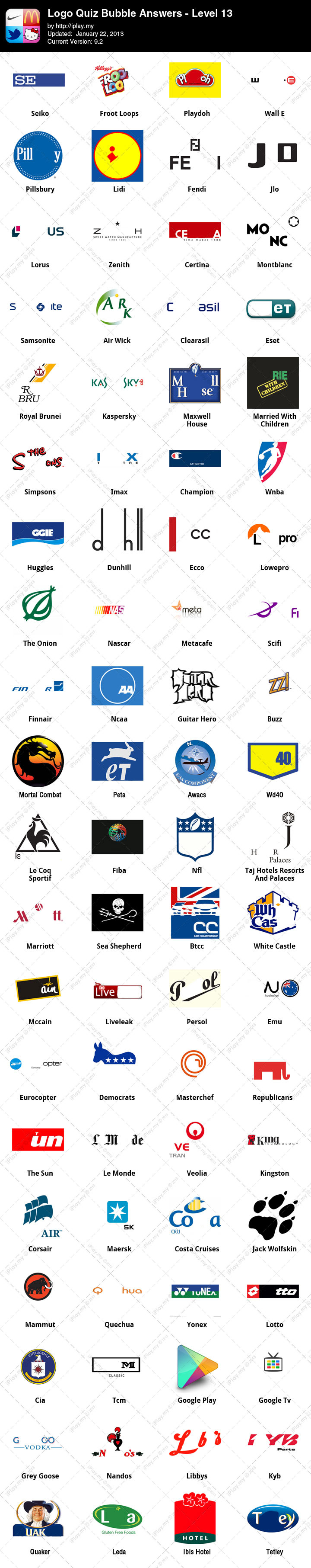 Logo Quiz Answers Level 13 : answers, level, Answers, Level, Iphone