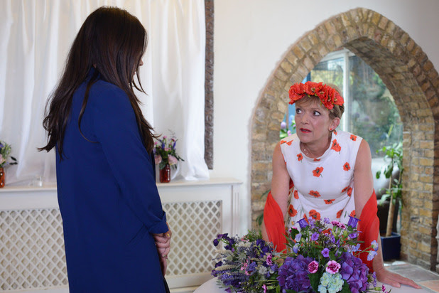 A nervous Jean talks to Stacey before her wedding.