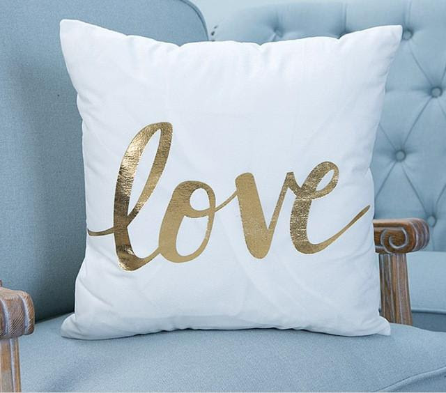 Love Quote Gold Accent Pillow