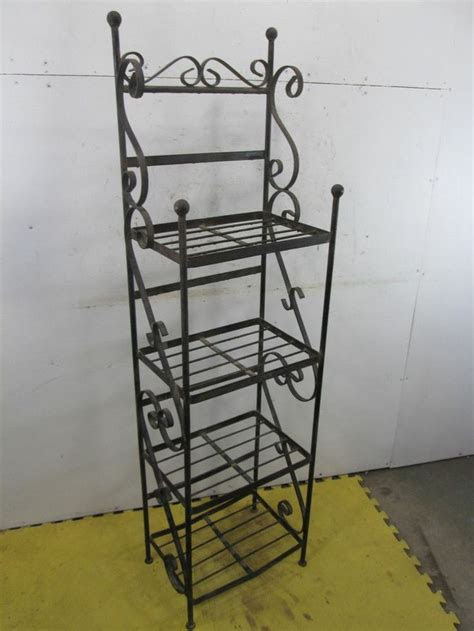 Vintage Heavy Wrought Iron 4 Tiered Book/Plant Stand