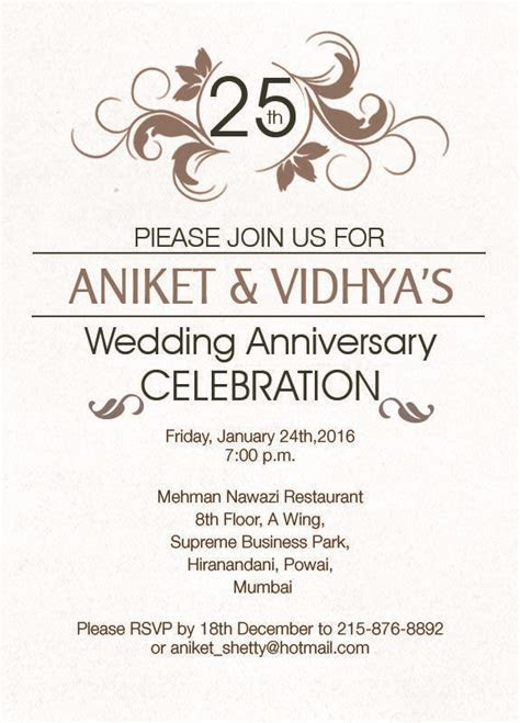 22 best 25th Silver Wedding Anniversary Invitation