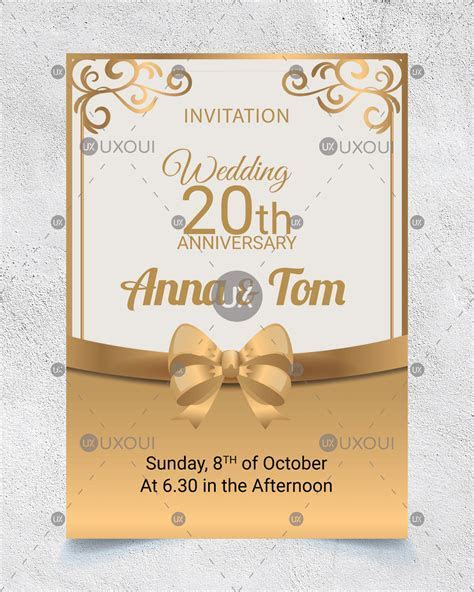 Wedding anniversary invitation card design with golden