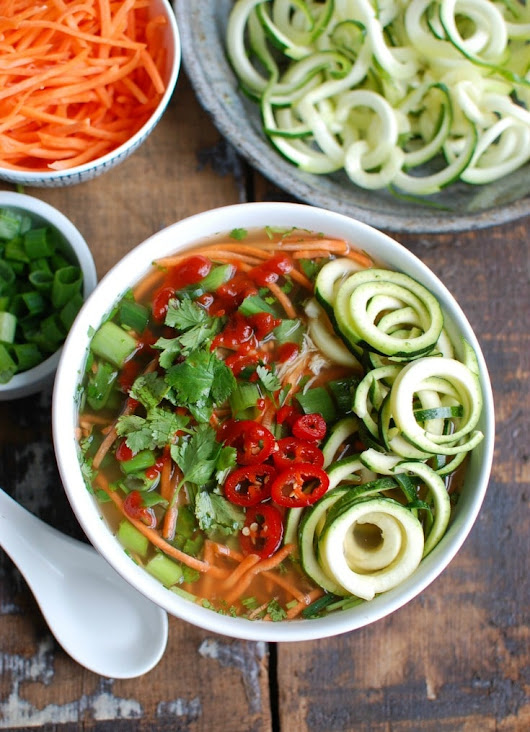 Spicy Asian Chicken Zoodle Soup - A Cedar Spoon