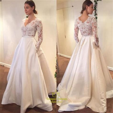 Simple Elegant Long Sleeve V Neck A Line Lace Top Satin