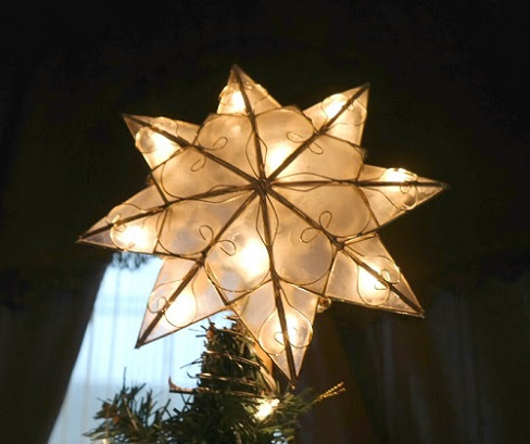 Kurt Adler Capiz Shell Star Christmas Tree Topper - The Classy Chics