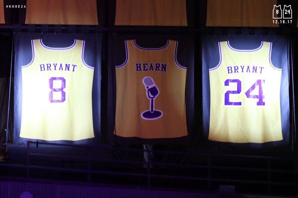 Kobe Bryant's two jersey numbers are retired during a halftime ceremony at a Lakers game in STAPLES Center...on December 18, 2017.