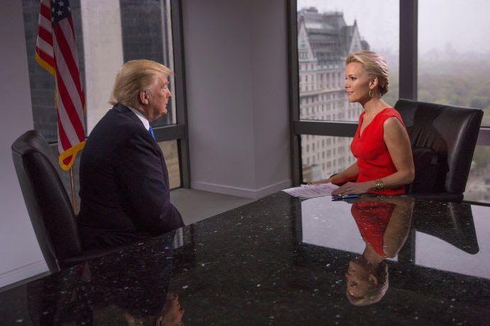 Megyn Kelly interviews Donald Trump at Trump Tower.