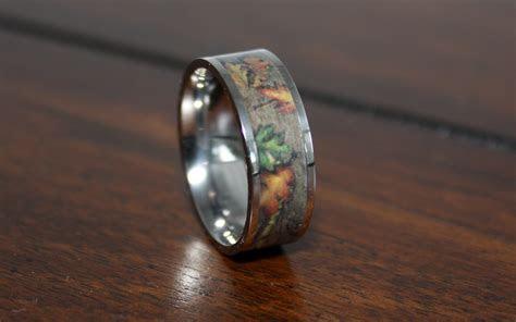 Camo Wedding Rings, Flat Titanium Ring, Camouflage Band