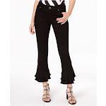 Inc Womens Black Ruffle Hem Jeans Petites